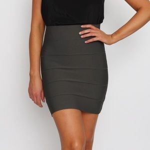 BCBG Simone Power Bandage Skirt in Dark Olive